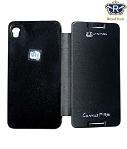 Royal Rusi - Black Flip cover For Micromax A104 Canvas Fire 2
