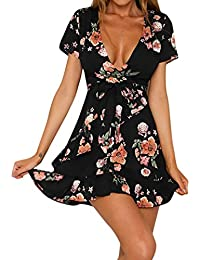 Robe Longue Femme Ete Boheme Plage Printemps Robe Chic Retro BohèMe V  DéColleté Robe Fleur Impression 09cf2db9de7