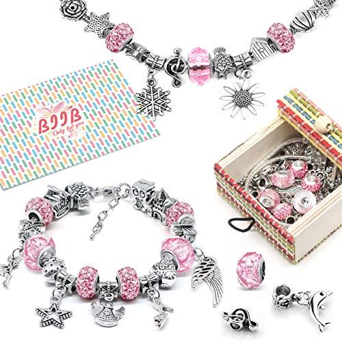 BIIB Charm Armband Kit DIY - Schmuck Bastelset Mädchen, Geschenk für Mädchen Teens, Armband Mädchen Geschenk 8-12 Jahre, adventskalender zum befüllen mädchen adventskalender 2019 (3 Silber Kette)