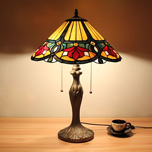 16 pouces Vintage Luxury Rouge Magnolia Tiffany style vitrail lampe de table lampe de chevet