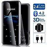 Lecteur MP3 MANSSO Bluetooth 4.2, Boutons Tactile avec Écran de TFT 2,4 Pouces, Lecteur Audio numérique Portable sans Perte de 8 Go avec Radio FM E-Book enregistreur Vocal Prise en Charge jusqu\'à 128G