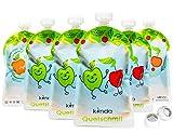 Quetschbeutel wiederverwendbar 6er Pack BPA frei | einfach zu befüllen & reinigen | ideal für Smoothie, Fruchtmus, Baby Brei, Joghurt | Gefrierschrank Geschirrspüler geeignet (175 ml)