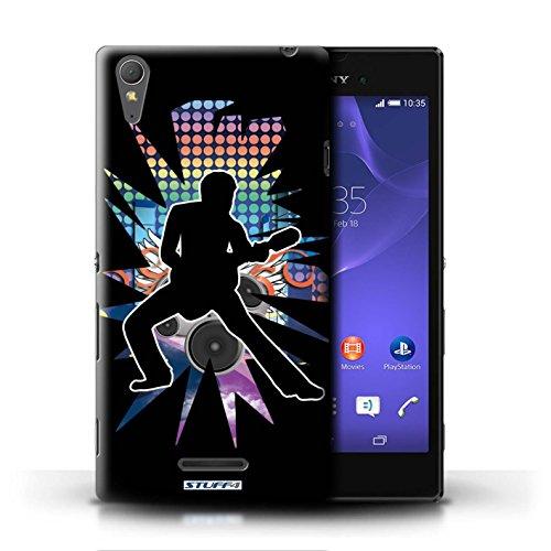Kobalt® Imprimé Etui / Coque pour Sony Xperia T3 / Rock Dame Blanc conception / Série Rock Star Pose étendre Noir