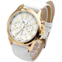 Relojes Pulsera Mujer,Xinan Cuarzo Romana Cuero de Imitación Relojes Regalo (Blanco)
