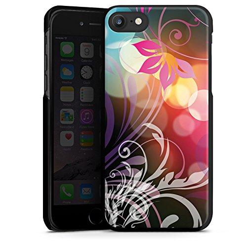 Apple iPhone X Silikon Hülle Case Schutzhülle Blumen Bunt Floral Hard Case schwarz