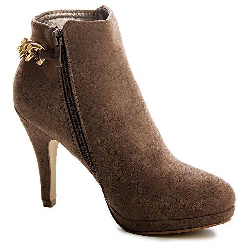 topschuhe24 Damen Stiefeletten Plateau Ankle Boots Hellbraun