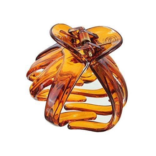 SODIAL(R)Plastique Octopussy papillon Flaxen Hair Hairpin Coffee