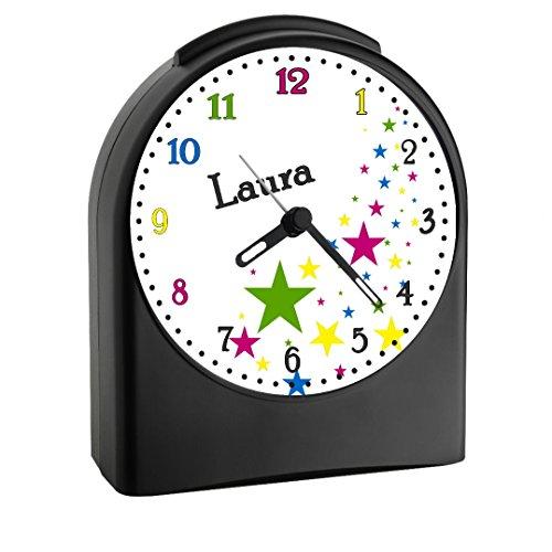 Preisvergleich Produktbild Kinderwecker mit (Wunsch) Namen | Kinder Funkwecker | mit Analog – Ziffernblatt | ohne ticken und mit Licht |ideal für Schulkinder | Motiv Sterne