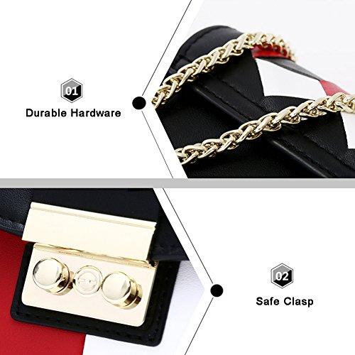 Yoome Borsa a contrasto colore a contrasto per la borsa della frizione della catena di appuntamenti per borsa a tracolla delle donne per la ragazza - Rosso Blu