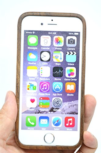 iPhone 6s Plus Coque (5.5 Pouce) Étui Housse de Protection pour iPhone 6s Plus (Noyer Compas) - Collecte de Bois (TM) Étui de Protection en Bois et Couverture de Téléphone pour Votre Smartphone et Tab Noyer la Moitié Grande Fleur