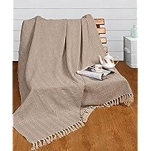 Manta de 220x 250cm de algodón natural con patrón de espiga EHC