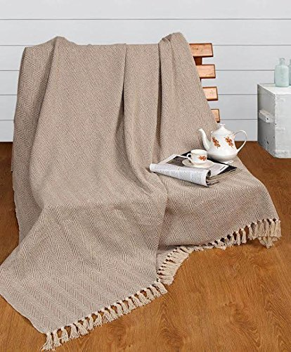 EHC Tagesdecke 220 x 250 cm aus natürlicher Baumwolle mit Fischgrätmuster, ideal für Sofa und Sessel