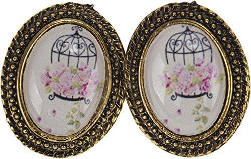 Damen Ohrstecker Vintage Birdcage Rosen Ohrringe Breite 1,9cm, Höhe 2,3cm