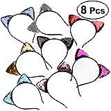 8pcs Sequin Cat Ears Headband Shiny Hair Hoops Cute Bling Hairband Hair Accessories For Women Girls