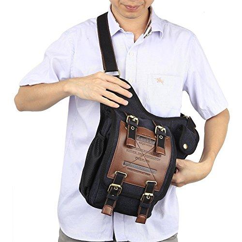 Preisvergleich Produktbild Herren Vintage Leinwand Leder Military Utility Schulter Messenger Bags–Schwarz