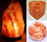 Lampada di sale Salgemma dell'Himalaya 4-6 kg + 2 porta candela CON CERTIFICATO DI GARANZIA immagine