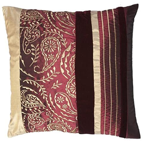 FLORAL STRIPES - regal Maroon Faux Silk Paisley and Velvet Stripes Cushion