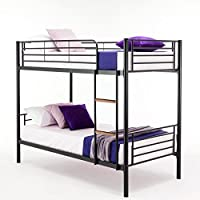 Single Sleeper Bunk Bed Metal Single Twin 2 Children's Bunk Bed (Black)