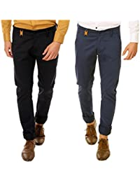Nimegh Royal Black and Royal Blue Color Slim Fit Cotton Casual Trouser For Men's (Pack Of 2)