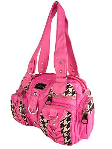 DAVID NILE AK22032P, Handtasche NELE, viele Farben, Sommertasche 30x20x10cm (blau blue hell) pink