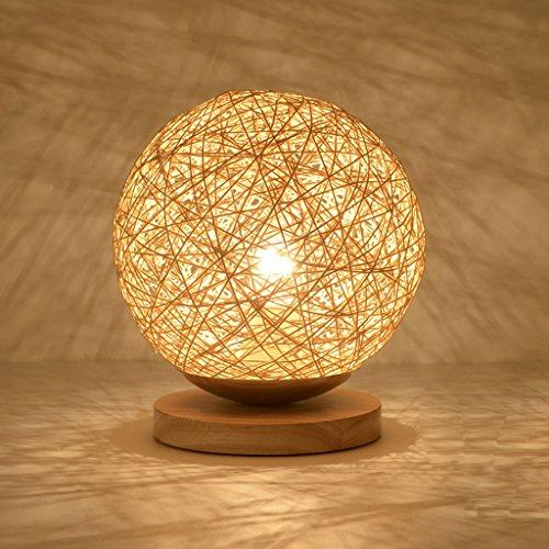 JIAHONG Creativo ronda de cáñamo bola LED lámpara de mesa, tejido a mano de ratán natural de alta calidad de cabecera de iluminación lámpara de mesa decorativa ( Size : 22cm )