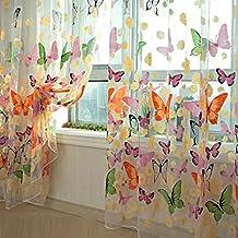 Mariposa floral cortinas Visillos gasa de Tulle de la cortina de ventana 100x200
