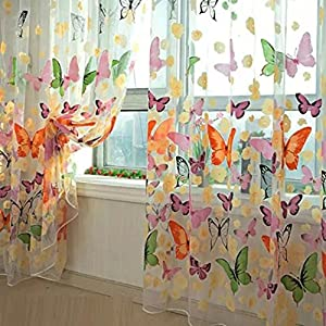 Blumenschmetterlings Gardinen Gardine Voile Tulle Fenster Vorhang 100x200cm