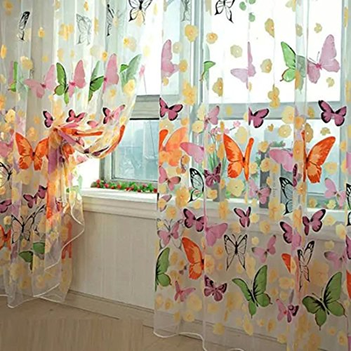 Mariposa floral cortinas Visillos gasa Tulle