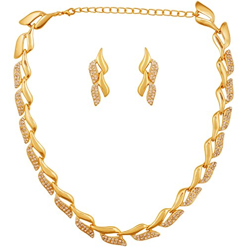 Touchstone Leaf Style with Austrian Diamond Necklace set for Women - PWNSR001-01A--Y1