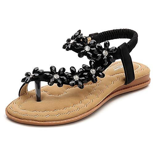 YNSH Flache Thong Sandalen der Frauen funkeln Strass Flip Flops Sommer Strand elastische T-Strap Hausschuhe Schuhe-black-39MEU -