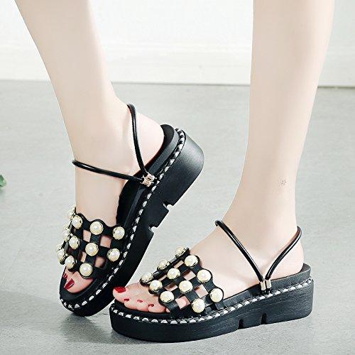 RUGAI-UE La moda al di fuori dei pattini di usura donne estate pantofole rivetto studente fondo spesso donne Scarpa Black