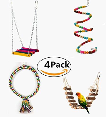 LA VIE 4 Stück Papagei Spielzeug Seil Schwingen Vogelspielzeug Käfige Schaukel Leiter Spielzeug Schaukel Spielzeug Hängende für Pet Parrot Birds Kauspielzeug Play Klettern -