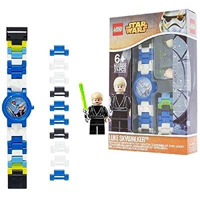 Reloj modificable infantil de Luke Skywalker de LEGO Star Wars con pulsera por piezas y figurita; azul/blanco; plástico; 28 mm de diámetro; Cuarzo analógico  chico chica; oficial