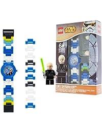 LEGO Star Wars 8020356 Luke Skywalker Kinder-Armbanduhr mit Minifigur und Gliederarmband zum Zusammenbauen,blau/weiß,Kunststoff,analoge Quarzuhr,Junge/Mädchen,offiziell