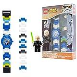 LEGO Star Wars 8020356 Orologio da polso componibile per bambini con cinturino a maglie e minifigure Luke Skywalker | per i bambini | ragazzo/ragazza |blu/bianco | Diametro di 28 cm | Quarzo analogico