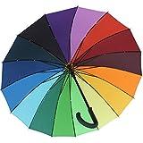 iX-brella long rainbow - hochwertiger Stockschirm 16-teilig mit Automatik - sturmsicher - 1 Meter Durchmesser
