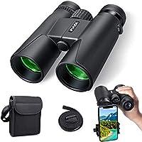 Jumelles pour adultes, 10x42 Jumelles compactes HD avec support de téléphone intelligent pour l'observation des oiseaux, camping, randonnée-BAK4 Prism FMC lentille avec courroie