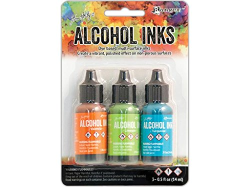 Tim Holtz Alcohol Ink .5oz 3/Pkg-Spring Break-Valencia/Limeade/Turquoise