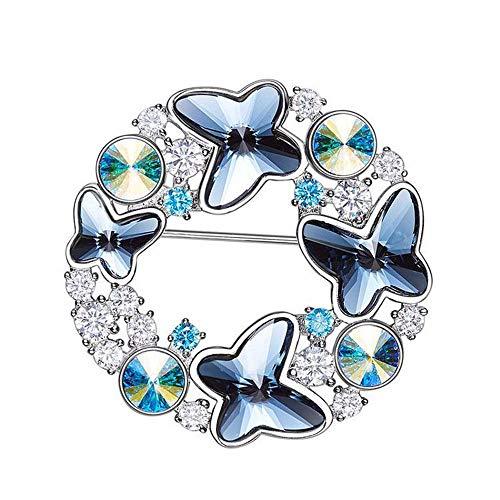 Peggy Gu schmuck Vintage Style Runde Form Schmetterling Brosche Strass bedeckt Schals Schal Clip für Frauen Damen blau kostüm - Accessoire
