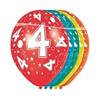 Folat 19304 4th Birthday Balloons - 5 pieces, Multi Colors