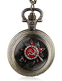Bronze : 2017 Vintage Antique Soviet Union Flag Theme Bronze Quartz Pocket Watch Pendant Necklace Fob Watch High...