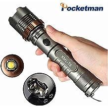 T62000LM táctico lámpara de bolsillo, defensa personal recargable ajustable impermeable alta táctico luz, T6Lámpara LED Linterna