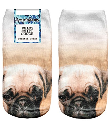 Couch Army Trick y1bz cani gatti animali Fullprint Sneaker calze fuesslinge mezza calzini All Over taglia unica (36-40) Pug Dog Taglia Unica (36-40)