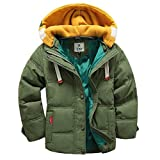 MUXILOVE Kinder Winterjacke mit Kapuze Daunenjacke für Jungen Wintermantel Down Jacket Winter Jacket Mantel Parka Outerwear Trenchcoat Grün 150