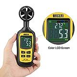 URCERI Anemometer Digital Windmesser 0.4m/s bis 30m/s Handheld Windgeschwindigkeitsmesser Thermometer -20°C bis 70°C Windmessgerät mit Min/Max-Daten