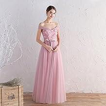 66ed1d4dc7c1a YL LY Vestido de Dama de Honor Rosa Vestido Largo Grupo de Hermanas Era  Delgada Banquete