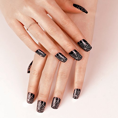 ArtPlus Uñas Postizas Falsas Artificial 24pcs x 2 (2-Pack) Halloween Gothic Black Silver Spider Web with Crystals False Nails with Glue Full Cover Long Length 2 Boxes in 1 Fake Nails Art