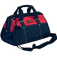 HUIJIA Tool Bag Heavy Duty Tool Storage Bag with 600D Canvas, Wide Open Mouth, Zip-Top and Wear Resistant Rubber Base, Black and Red(L:17.7''X11''X7.9'')