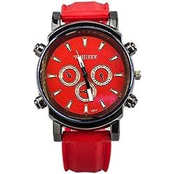 Big Dials Wrist Watch - Weijieer Silicone Band Big Round Face Big Dials Men's Boys Sport Wrist Watch Quartz Watch, Red
