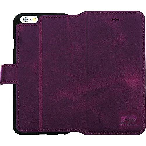 """Solo Pelle Iphone 6 Plus / 6S Plus (5.5 Zoll) """"Wallet"""" Ledertasche mit Aufstellfunktion & Kartenfächern, Vintage in Cognac Braun Vintage Lila"""